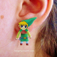 The Legend of Zelda  Toon Link Clinging  earrings  two part front and back  Nintendo Geeky Gamer earrings