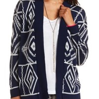 Geometric Aztec Cardigan Sweater by Charlotte Russe - Navy Combo