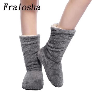 Womens Plush Home Coral Fleece Indoor Floor Sock Winter Foot Warmer Soft Bottom Slippers