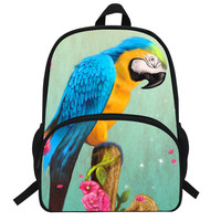 16inch Girls Zoo Animals Backpack For Women School Bags Print Parrot Backpack Macaw Teenagers Boys Casual Bookbag for Children
