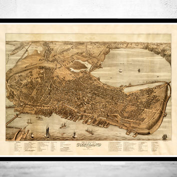 Beautiful Old Map of Portland Maine 1876