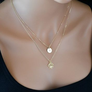 Lotus Necklace Gold, Layered Necklace, Initial Necklace Gold, Double Strand Necklace, Personalized Necklace, Gold Lotus Flover Necklace