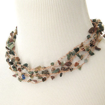 Jasper Wire Crochet Necklace, Bridesmaids, Feminine Necklace
