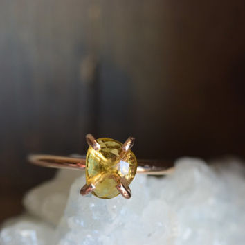 Yellow Tourmaline Minimal Ring. Delicate Everyday Gemstone Ring. Gold Fill Tourmaline Stone Ring. October Birthstone. Yellow Stone Jewelry