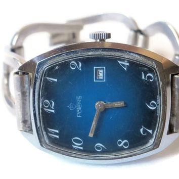 Vintage Swiss Womens Wrist Watch Potens Enamel Dial shows Time and Date Working