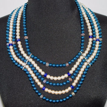 Five Strands Multi Color Glass Pearls Necklace
