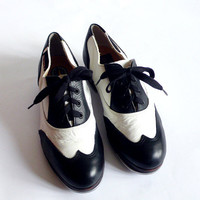 vintage 70s tap dancing Dansky  Israel  Dance shoes   Black White leather  Oxford Shoes SIZE 35 American - 5 FREE SHIPPING