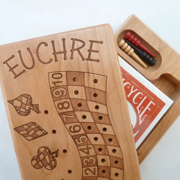 Euchre Counter, Solid Cherry Wooden Euchre Counter Set -Laser Engraved
