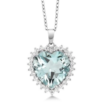 diamond pendant necklace jewelry red aquamarine black 0.5 925 Sterling Silver Heart Shape Pendant With Complimentary 18 Chain
