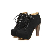 Black Suede Chunky Heel Ankle Boots$66.00