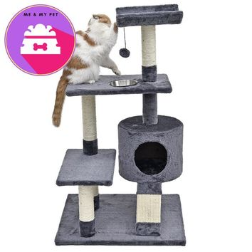 Domestic Delivery Cat Climbing Tree Pet House With Staircase Cat Scratching Post Kitten Playing Ball Bowl Cat Furniture WithBowl