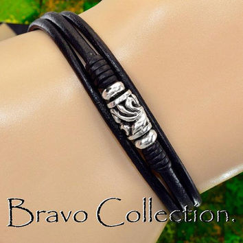 B-217 Solid Sterling Silver & Leather Unisex New Wristband Men Bracelet.