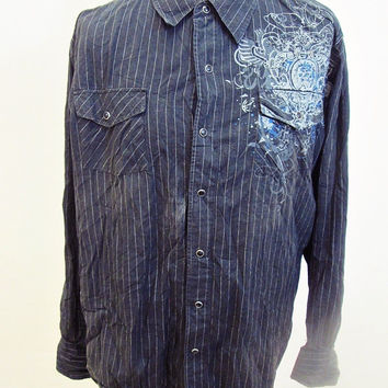 Retro American Darts Tattoo Designer Rockabilly Western Cowboy Shirt XL