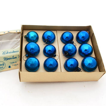 Vintage Blue Miniature Mercury Glass Ball Tree Ornaments Shiny Brite One Dozen in Box Holiday Christmas Home Decor Craft Supplies