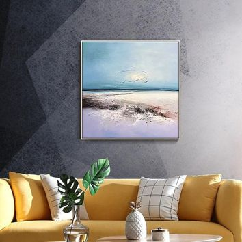 Original sea waves Paintings on canvas Modern abstract texture Blue agate acrylic painting large wall art home decor cuadros abstractos