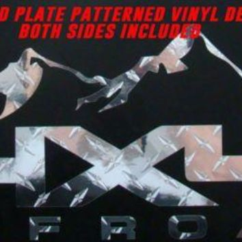 DIAMOND PLATE 4X4 OFFROAD MOUNTAIN VINYL DECAL CHEVY DODGE FORD NISSAN TOYOTA