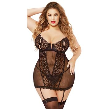 Sexy Kylie Plus Size Galloon Lace and Mesh Gartered Chemise and Thong