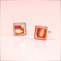Sterling Silver Origami Paper Square Stud Earrings with Resin- Red, Black, White and Gold