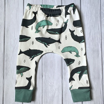 Organic Leggings, harem pants, baby harem pants, toddler pants, baby boy clothes, harem pants in whale print