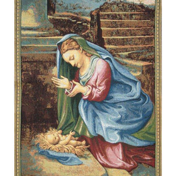 Madonna Adoring the Child Tapestry Wall Art Hanging