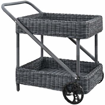 Gray Summon Outdoor Patio Beverage Cart