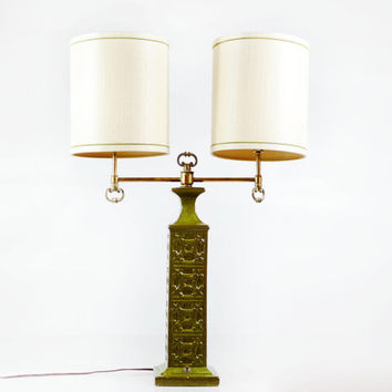 Vintage Green Double Lamp, Asian Inspired Ceramic Lamp with Shades, Green Table Lamp, Hollywood Regency