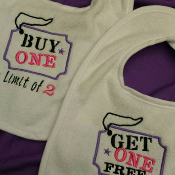 TWINS Bibs or Burps ADoRABLe & FuN Saying for TWiN Babies Buy ONE Get One FREE Boutique Unique Embroidered CUSToM Designs by Sugarbear