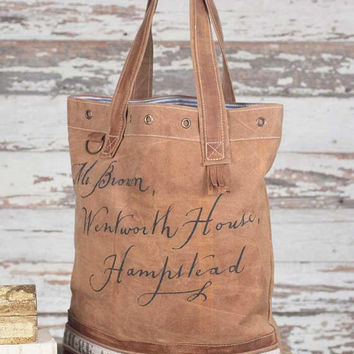 Vintage Graphic Canvas Tote Bag Purse Leather and Brass Hampstead English French Postcard Market Bag Distressed Unique