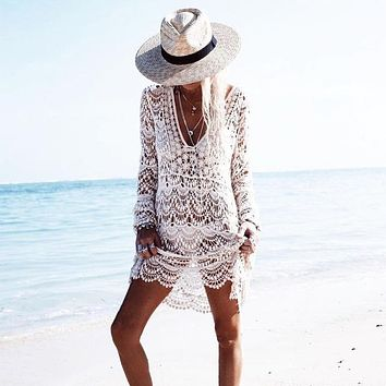 Cover ups Bikini 2018 Beach Cover up Rayon Embroidery Bikini cover up kaftan beach Saidas De Praia Swim  pareos para playa robe de plage KO_13_1