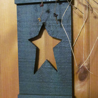 Country Star Shutter Star Cut Out Rustic Primitive Star Decor Mustard and Black Pipberries and Homespun Fabric