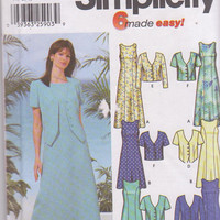 Fit and flare dress pattern in knee or calf length with short or long sleeved unlined jacket misses size 6 8 10 12  Simplicity 5957 UNCUT