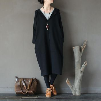Women Oversized fleece Hooded witch magic retro art robe Knee-length