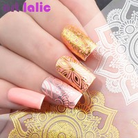 Artlalic 1 Sheet 3D Henna Nail Sticker Metallic Flora Flower 12 Patterns Stamping Charms Bronze Gold Silver Nail Art Decal