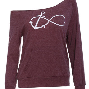 Slash Neck Anchor Print Sweatshirt