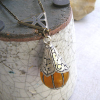 Nepalese Amber Silver Amulet Necklace, Tibetan Golden Copal Resin Teardrop & Triangle Charm Long Necklace, Modern Ethnic Tribal Boho Jewelry