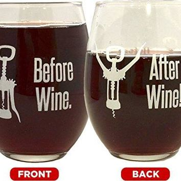 15 oz Funny Wine Glass Stemless 1 Count  Before Wine  After Wine  Unique and Humorous 2Sided Design With Gift Box for Mothers Day Birthday Women Men Wife Mom Girlfriend Wine Lovers