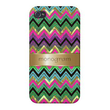 Colorful Monogram Geometric Chevron Gold Accent Case For iPhone 4