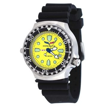 Corvette CR286YL Men's Z06 Collection Yellow Dial Rubber Strap Swiss Dive Watch