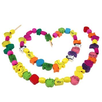 DIY Wooden Animal Fruit Beads Children DIY Educational 3D Puzzle Lovely Spacer Threading Beads Educational Toys for Kids