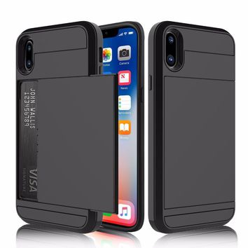 Shockproof Protective Case for iPhone X 7 8 6 6S Plus 7Plus 5S 5 SE Case Soft Rubber Hard PC Back Cover Slide Card Slot Holder