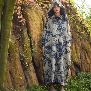 SCUWLINEN Vestido 2016 Winter Women Dresses Vintage Print Quilted Cotton Plate Buttons Big Hood Plus Size Long Casual Robe S240