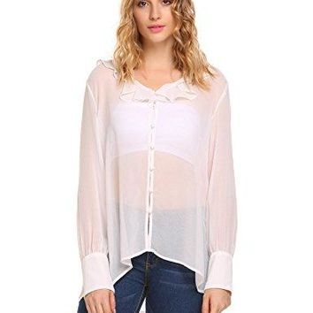 ThinIce Women Sexy Long Sleeve Ruffle O Neck Top Sheer Button Up Chiffon Blouse