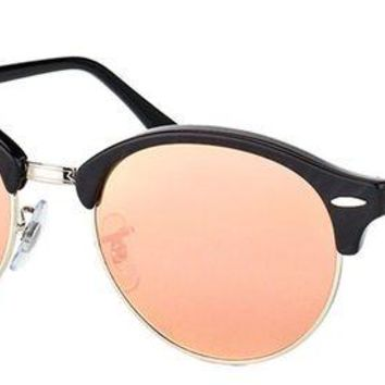Kalete Authentic Ray Ban Clubround RB 4246 1197Z2 Wrinkled Black Sunglasses Pink Mirror