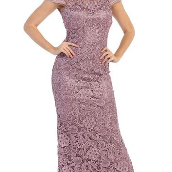 May Queen - Lace Illusion Jewel Sheath Evening Dress