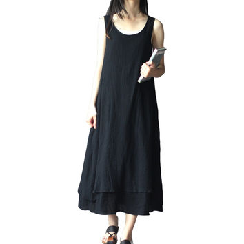 Spring And Summer Women Vintage Linen Fluid Loose Tank One-piece Dress Women Summer Dress Maternity Dress