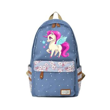 2018 New Canvas Backpack Unicorn for teenagers School travel Kawaii Shoulder Bag Flower wave point Rucksacks Cute High Quality
