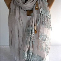 Elegant  Scarf with Lace Edge -gift Ideas For Her Women's Scarves-christmas gift- for her -Fashion accessories