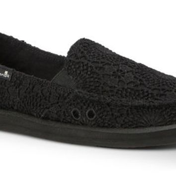 Sanuk Donna Crochet Black/Black Sidewalk Surfers