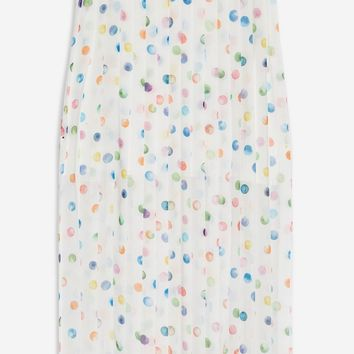 Watercolour Spot Pleated Midi Skirt | Topshop