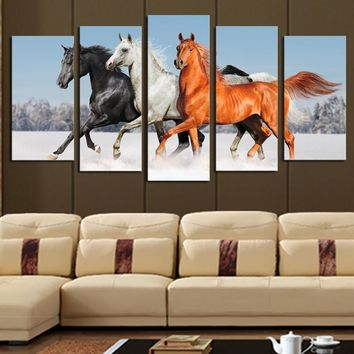 5 Piece Wall Canvas Horse Modern Painting